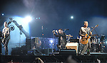 PASADENA, CA. - October 25: The Edge, Bono and Adam Clayton perform in concert during their 360º Tour at the Rose Bowl on October 25, 2009 in Pasadena, California.