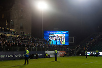 A tribute for the late Ken Parry appears on the big screen. Anglo-Welsh Cup match, between Bath Rugby and Leicester Tigers on November 10, 2017 at the Recreation Ground in Bath, England. Photo by: Patrick Khachfe / Onside Images