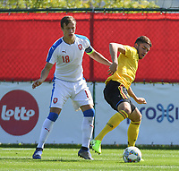 20190910 - TUBIZE , BELGIUM : Belgian Antoine Colassin (R) and Czech Republican's Tomas Vlcek (L) pictured during the friendly  soccer match between Men's under 19 teams of  Belgium and Czech Republic , in Tubize , Belgium . Tuesday 10th September 2019 . PHOTO SPORTPIX.BE / DIRK VUYLSTEKE