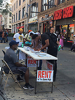 NEW YORK, NY - AUGUST 7:  Jimmy McMillan, 'Rent is Too Damn High' candidate for New York State governor is spotted campaigning/petitioning in Harlem on 125th Street and Lenox Avenue in New York, New York on August 7, 2018.  <br /> CAP/MPI/RMP<br /> &copy;RMP/MPI/Capital Pictures