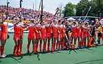 Den Bosch  -  line up Nederland met volkslied    voor  de Pro League hockeywedstrijd dames, Nederland-Belgie (2-0).  COPYRIGHT KOEN SUYK