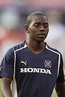 The Chicago Fire's Dipsy Selolwane during pregame warm ups. The Chicago Fire played the NY/NJ MetroStars to a one all tie at Giant's Stadium, East Rutherford, NJ, on May 15, 2004.