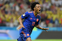 KAZAN - RUSIA, 24-06-2018: Juan CUADRADO jugador de Colombia celebra después de anotar un gol a Polonia durante partido de la primera fase, Grupo H, por la Copa Mundial de la FIFA Rusia 2018 jugado en el estadio Kazan Arena en Kazán, Rusia. /  Juan CUADRADO player of Colombia celebrates after scoring a goal to Polonia during match of the first phase, Group H, for the FIFA World Cup Russia 2018 played at Kazan Arena stadium in Kazan, Russia. Photo: VizzorImage / Julian Medina / Cont