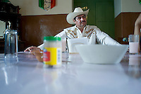 Guillermo Ramirez entertains guests for lunch at his Hacienda Xochuca, Pulque route, Tlaxcala, Mexico June 5, 2007