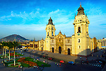 The Cathedral of Lima (Catedral de Lima), is a Spanish colonial style church located in the Plaza Armas (also known as Plaza Mayor) in historic downtown Lima, Peru.  Cerro (hill) San Cristobal can be seen in the background.