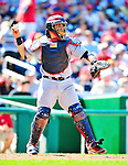 29 August 2010: St. Louis Cardinals catcher Yadier Molina in action against the Washington Nationals at Nationals Park in Washington, DC. The Nationals defeated the Cards 4-2 to take the final game of their 4-game series. Mandatory Credit: Ed Wolfstein Photo
