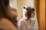 Emily Kramer, a graduate student studying poetry listen to someone speak at the first Women in Graduate School Coffee Hour in the Women's Center on Tuesday, September 6, 2016.