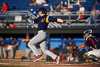 State College Spikes outfielder Jhohan Acevedo (28) at bat during a game against the Batavia Muckdogs August 22, 2015 at Dwyer Stadium in Batavia, New York.  State College defeated Batavia 5-3.  (Mike Janes/Four Seam Images)