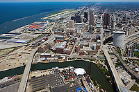 aerial view above downtown Cleveland Ohio Cuyahoga river Lake Erie stadium Burke Lakefront airport