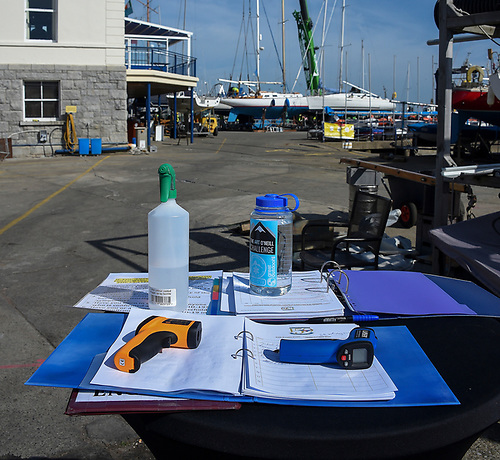 COVID-19 Temperature checks and sanitising station for the Natonal Yacht Club Lift-In