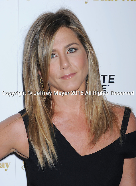 LOS ANGELES, CA - AUGUST 19: Actress Jennifer Aniston arrives at the Premiere Of Lionsgate Premiere's 'She's Funny That Way' at Harmony Gold on August 19, 2015 in Los Angeles, California.