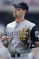 Luis Gonzalez of the Arizona Diamondbacks during a 2002 MLB season game against the Los Angeles Dodgers at Dodger Stadium, in Los Angeles, California. (Larry Goren/Four Seam Images)