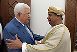 Palestinian President Mahmoud Abbas meets with Omanian delegation, at his headquarter in the West Bank city of Ramallah, August 06, 2019. Photo by Thaer Ganaim