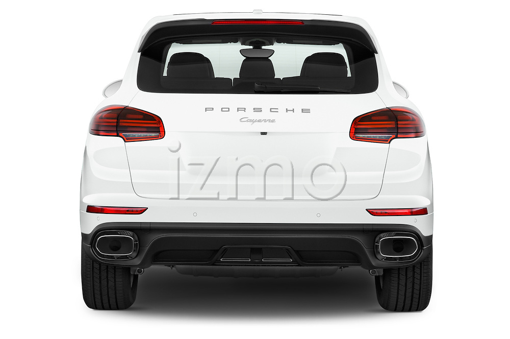 Straight rear view of a 2016 Porsche Cayenne Diesel 5 Door SUV Rear View  stock images