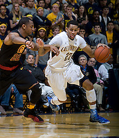 Allen Crabbe of California dribbles the ball during the game against USC at Haas Pavilion in Berkeley, California on February 17th, 2013.  California defeated USC, 76-68.