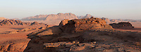 Mountains of sandstone and granite, Wadi Rum Protected Area (WRPA), Wadi Rum National Park, also known as The Valley of the Moon, 74,000-hectare, UNESCO World Heritage Site, desert landscape, southern Jordan, Middle East. Picture by Manuel Cohen