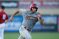 Clearwater Threshers Matt Vierling (28) running the bases during a Florida State League game against the Palm Beach Cardinals on August 10, 2019 at Roger Dean Chevrolet Stadium in Jupiter, Florida.  Clearwater defeated Palm Beach 11-4.  (Mike Janes/Four Seam Images)