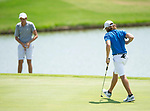 MUSCLE SHOALS, AL - MAY 25: West Florida's Carlos Marreo reacts to sinking a putt on No. 13 during the Division II Men's Team Match Play Golf Championship held at the Robert Trent Jones Golf Trail at the Shoals, Fighting Joe Course on May 25, 2018 in Muscle Shoals, Alabama. Lynn defeated West Florida 3-2 to win the national title. (Photo by Cliff Williams/NCAA Photos via Getty Images)