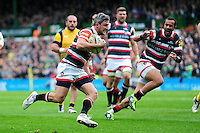Tom Brady of Leicester Tigers runs in a try. Aviva Premiership match, between Leicester Tigers and Worcester Warriors on October 8, 2016 at Welford Road in Leicester, England. Photo by: Patrick Khachfe / JMP