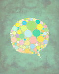 Illustration of chat bubbles against colored background