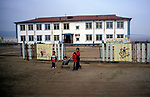 Russian built administration buildings.  Outer Mongolia.  Tsataan Uul.