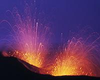 Eruptions of Stromboli Volcano, Aeolian Islands, Italy    UNESCO World Heritage Site  Mediteranean Sea   Magma eruptions