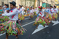 Lima, Peru.  Young Peruvian Men Marching in an Andean Cultural Parade, Plaza de Armas.