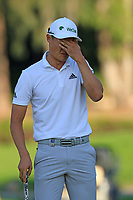 Haotong Li (CHN) misses his birdie putt on the 17th green during Sunday's Final Round of the 2018 Turkish Airlines Open hosted by Regnum Carya Golf &amp; Spa Resort, Antalya, Turkey. 4th November 2018.<br /> Picture: Eoin Clarke | Golffile<br /> <br /> <br /> All photos usage must carry mandatory copyright credit (&copy; Golffile | Eoin Clarke)