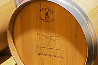 An oak barrel from Boutes Cooperage (tonnellerie) stamped with the name and symbol of Paloumey Chateau Paloumey Haut-Medoc Ludon Medoc Bordeaux Gironde Aquitaine France
