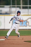 Princeton Rays right fielder Beau Brundage (16) runs the bases during the first game of a doubleheader against the Johnson City Cardinals on August 17, 2018 at Hunnicutt Field in Princeton, Virginia.  Johnson City defeated Princeton 6-4.  (Mike Janes/Four Seam Images)