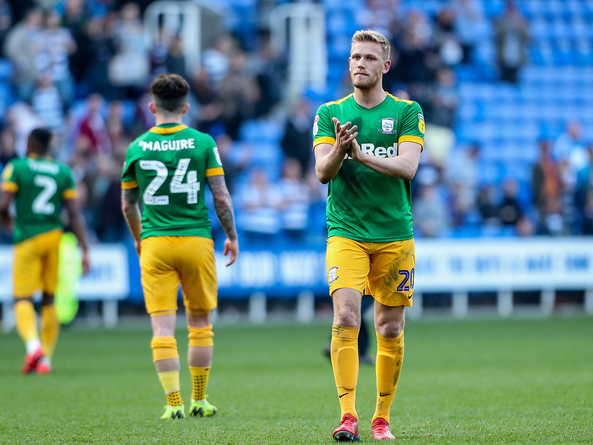Preston North End's Jayden Stockley applauds his side's travelling supporters at the end of the match <br /> <br /> Photographer Andrew Kearns/CameraSport<br /> <br /> The EFL Sky Bet Championship - Reading v Preston North End - Saturday 30th March 2019 - Madejski Stadium - Reading<br /> <br /> World Copyright © 2019 CameraSport. All rights reserved. 43 Linden Ave. Countesthorpe. Leicester. England. LE8 5PG - Tel: +44 (0) 116 277 4147 - admin@camerasport.com - www.camerasport.com