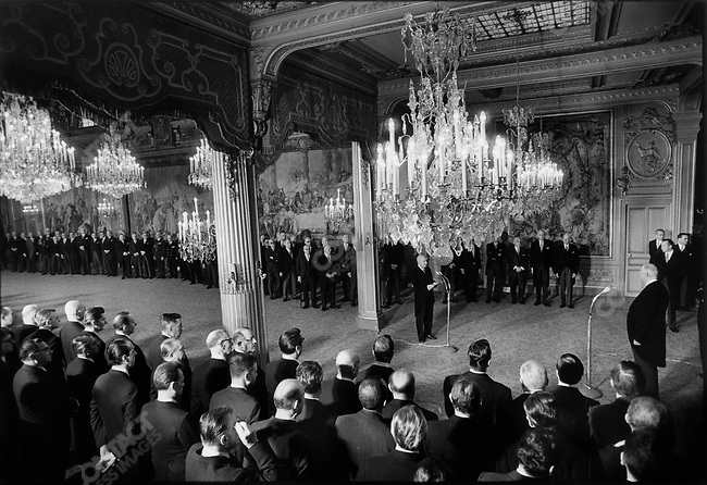 French President Charles de Gaulle (far right), presents official new years greetings to members of the National Assembly, Senate and state officials, Elysee palace, Paris, France, January 1, 1969