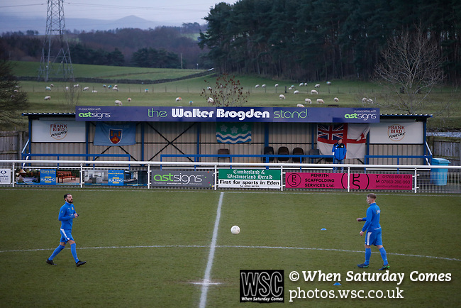 Penrith players warming up in front of The Walter Brigden Stand. Penrith AFC V Hebburn Town, Northern League Division One, 22nd December 2018. Penrith are the only Cumbrian team in the Northern League. All the other teams are based across the Pennines in the north east.<br />
