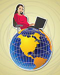 Female customer service representative with a globe
