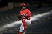 AZL Angels relief pitcher Darrien Williams (28) delivers a pitch during an Arizona League game against the AZL Diamondbacks at Tempe Diablo Stadium on June 27, 2018 in Tempe, Arizona. The AZL Angels defeated the AZL Diamondbacks 5-3. (Zachary Lucy/Four Seam Images)