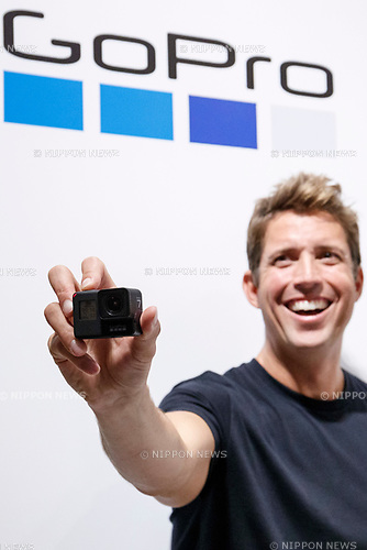 GoPro CEO Nick Woodman poses for the cameras during the presentation of company's new Hero 7 Black camera on September 25, 2018, Tokyo, Japan. The new Hero 7 Black is being promoted as a gimbal killer with its new HyperSmooth filming feature. The top of the range Black model will cost JPY 53,460 in Japan and there are two cheaper Silver and White versions which will be released at the same time. (Photo by Rodrigo Reyes Marin/AFLO)