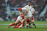 James Haskell of England is tackled by Sam Warburton of Wales during the RBS 6 Nations match between England and Wales at Twickenham Stadium on Saturday 12th March 2016 (Photo: Rob Munro/Stewart Communications)