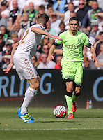 Jesus Navas of Manchester City during the Swansea City FC v Manchester City Premier League game at the Liberty Stadium, Swansea, Wales, UK, Sunday 15 May 2016