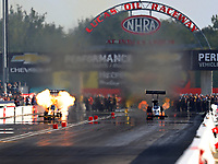 Sep 3, 2017; Clermont, IN, USA; NHRA top fuel driver Tony Schumacher explodes an engine during qualifying for the US Nationals at Lucas Oil Raceway. Mandatory Credit: Mark J. Rebilas-USA TODAY Sports