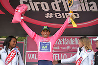 ITALIA - 27-05-2014: Nairo Quintana, ciclista colombiano del equipo Movistar celebra su victoria en la etapa 16 Ponte di Legno y Val Martello sobre 139 kilómetros, y se ha apuntado la victoria en la cima de Val Martello en la versión 97 del Giro de Italia / Nairo Quintana, Colombian cyclist Movistar Team celebrates winning the stage 16 Ponte di Legno and Val Martello about 139 kilometers, and has registered the win on top of Val Martello in version 97 of the Giro d'Italia. Photo: VizzorImage/ Gian Mattia D'Alberto/ LaPresse<br /> VizzorImage…. PROVIDES THE ACCESS TO THIS PHOTOGRAPH ONLY AS A PRESS AND EDITORIAL SERVICE AND NOT IS THE OWNER OF COPYRIGHT; ANOTHER USE HAVE ADDITIONAL PERMITS AND IS REPONSABILITY OF THE END USER