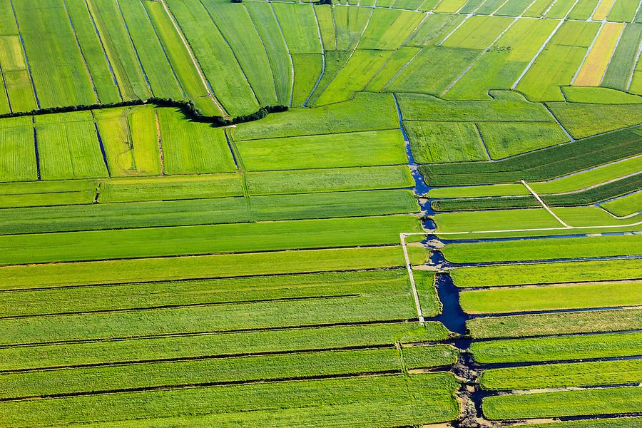 Nederland, Zuid-Holland, Gemeente Bodegraven, 15-07-2012; Noorzijderpolder , veenweidegebied tussen Bodegraven en Meije. Het landschap is ontstaan door het ontginnen van het veen (cope-ontginning). De Noordzijdskade (met bomen) is een zogenaamde achterkade, scheidingtussen wel en niet ontgonnen veen.  .This polder and bog meadows area was created by the extraction of peat (land reclamation)..luchtfoto (toeslag), aerial photo (additional fee required).foto/photo Siebe Swart