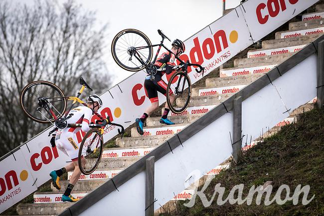 World Cup Leader Toon Aerts (BEL/Telenet Baloise Lions) and Eli Iserbyt (BEL/Pauwels Sauzen - Bingoal) <br /> <br /> Men Elite Race<br /> UCI Cyclocross Worldcup – Hoogerheide (Netherlands)<br /> <br /> ©kramon