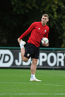 Sam Vokes of Wales stretches during the Wales Training Session at The Vale Resort in Cardiff, Wales, UK. Monday 8 October 2018