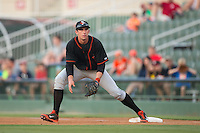 Delmarva Shorebirds first baseman Derek Peterson (46) on defense against the Kannapolis Intimidators at CMC-Northeast Stadium on June 6, 2015 in Kannapolis, North Carolina.  The Shorebirds defeated the Intimidators 7-2.  (Brian Westerholt/Four Seam Images)