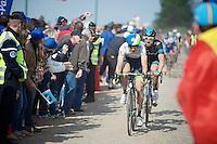 Jens Keukeleire (BEL/Orica-GreenEDGE) & Bernie Eisel (AUT/SKY) at the Carrefour de l'Arbre<br /> <br /> Paris-Roubaix 2014