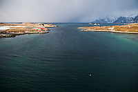 View from Bridge to waters of Selfjord between islands of Moskenesøya and flakstadoya, near Fredvang, Lofoten islands, Norway