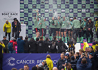 Greater London. United Kingdom, &ldquo;Champagne Moment&rdquo; Cambridge  Women's  BC celebrate winning the  University Boat Race against  Oxford University  Putney to Mortlake,  Championship Course, River Thames, London. <br /><br />Saturday  24.03.18<br /><br />[Mandatory Credit:Peter SPURRIER/Intersport Images]