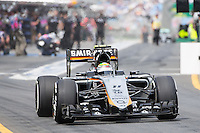 March 14, 2015: Sergio Perez (MEX) #11 from the Sahara Force India F1 Team leaves the pits for practise three at the 2015 Australian Formula One Grand Prix at Albert Park, Melbourne, Australia. Photo Sydney Low