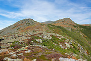 Mount Monroe with Mount Washington in the background from along the Appalachian Trail (Crawford Path) in the White Mountains, New Hampshire during the last days of summer.