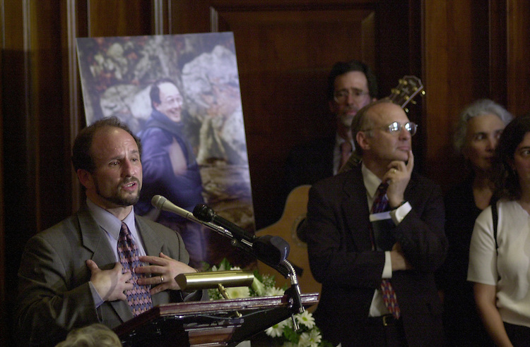 Wellstone P. 5(DG)050800 -- Paul Wellstone, D-Mn., family, friends and lawmakers filled the Mansfield room in the Capitol to bid a final farewell Tuesday to Mike Epstein, a 29 year Senate staffer who lost his battle with cancer Saturday at his home on Capitol Hill.